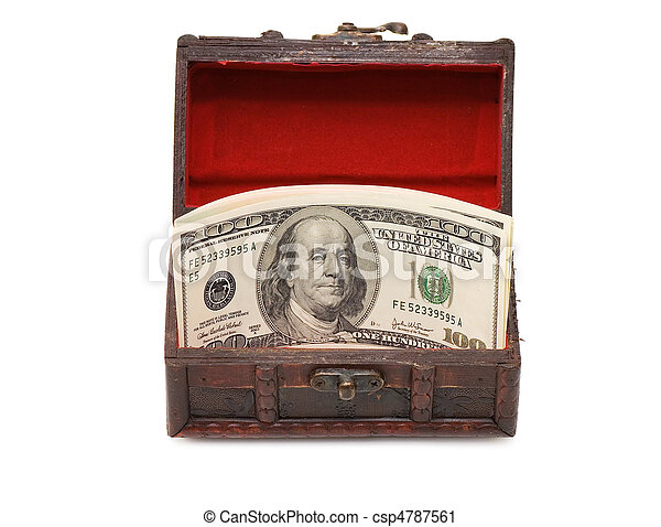 Money in box isolated on white background - csp4787561