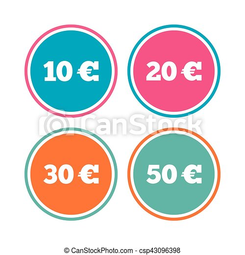 Money in Euro icons. Ten, twenty, fifty EUR. - csp43096398