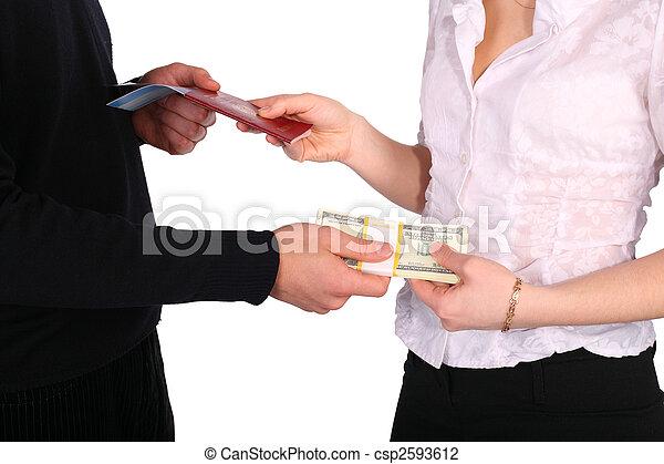 Money in exchange for documents - csp2593612