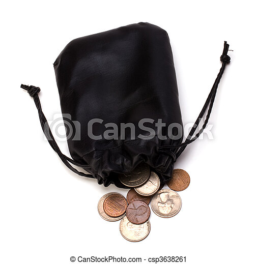 Money in leather bag isolated on white background - csp3638261