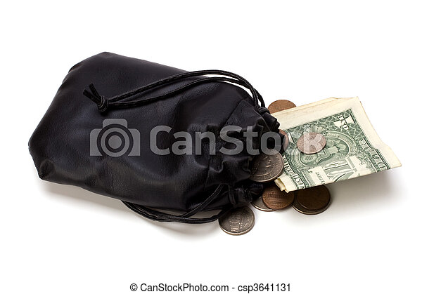 Money in leather bag isolated on white background - csp3641131