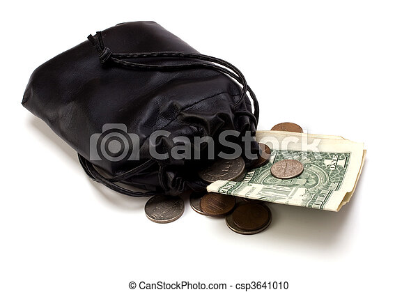 Money in leather bag isolated on white background - csp3641010