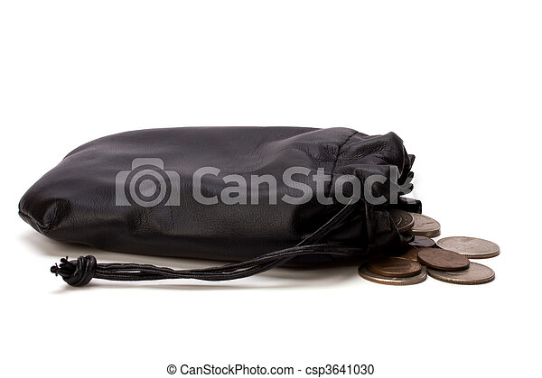Money in leather bag isolated on white background - csp3641030