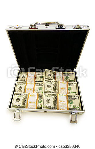 Money in the case isolated on white - csp3350340