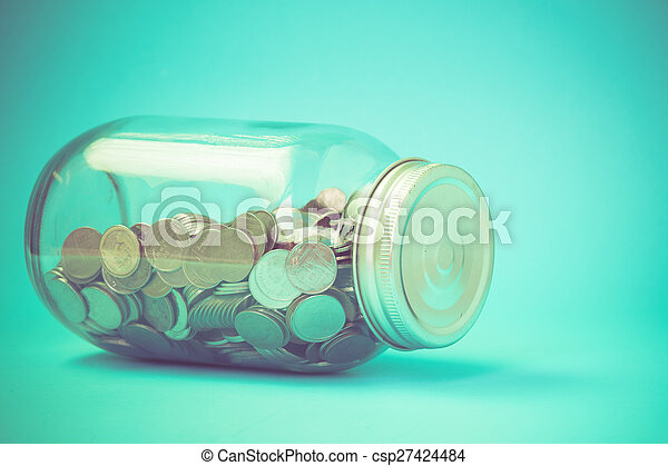 money in the glass with filter effect retro vintage style - csp27424484