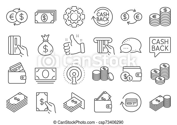 money line icons banking wallet and coins vector money line icons set of banking wallet and coins icons credit card can stock photo