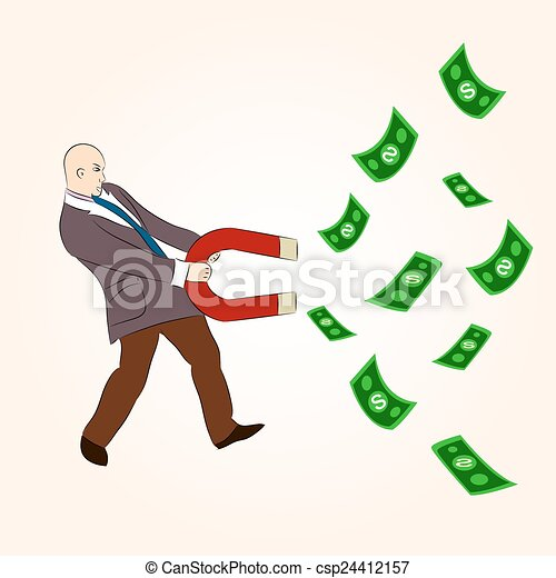 Money Magnet: Cartoon character attracting money with magnet. - csp24412157