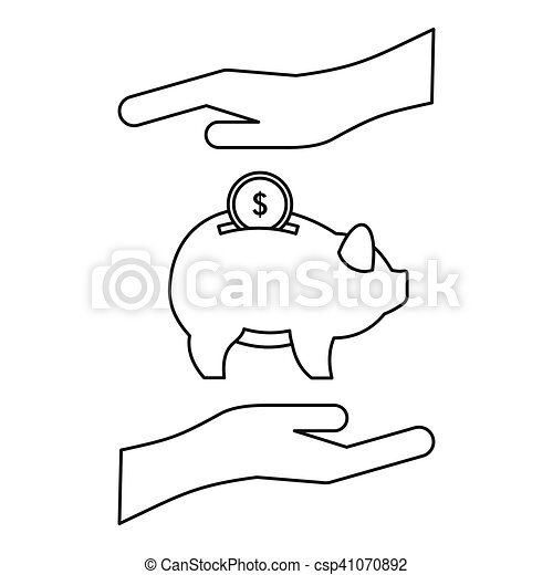 Money or savings insurance icon, outline style - csp41070892