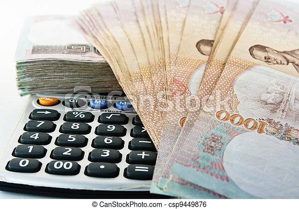 Money, pen and calculator - csp9449876