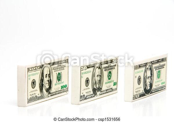 Money Pencil Erasers - csp1531656