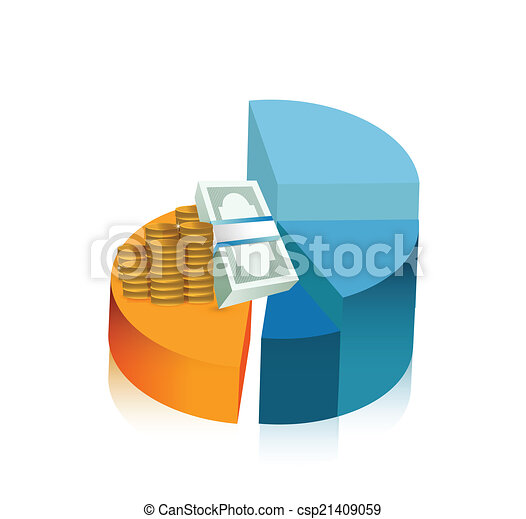 Money Pie Chart Illustration Design Over A White Background