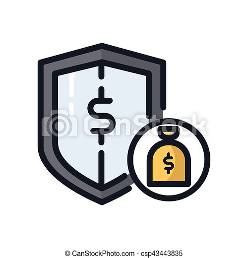 money protection icon color vectors search clip art illustration rh canstockphoto com Protect Our Environment Safe Clip Art