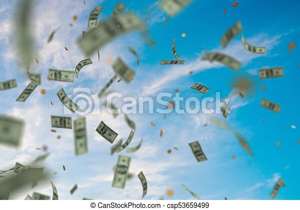 Money Raining And Falling Down From Sky 3d Rendered Illustration