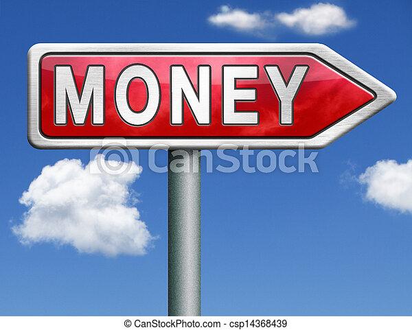 money red road sign arrow - csp14368439