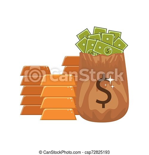money saving and money bag on white background - csp72825193