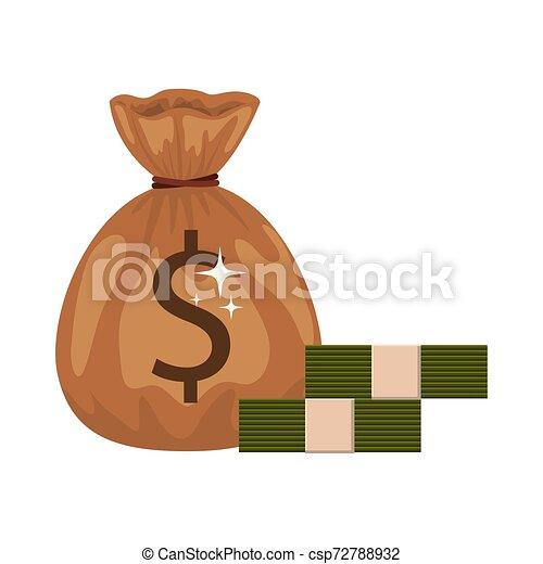 money saving and money bag on white background - csp72788932