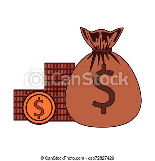 money saving and money bag on white background - csp72827429
