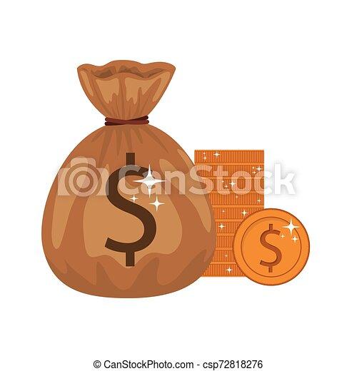 money saving and money bag on white background - csp72818276
