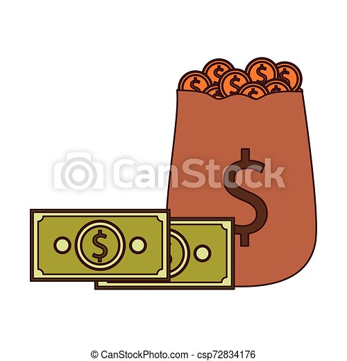 money saving and money bag on white background - csp72834176