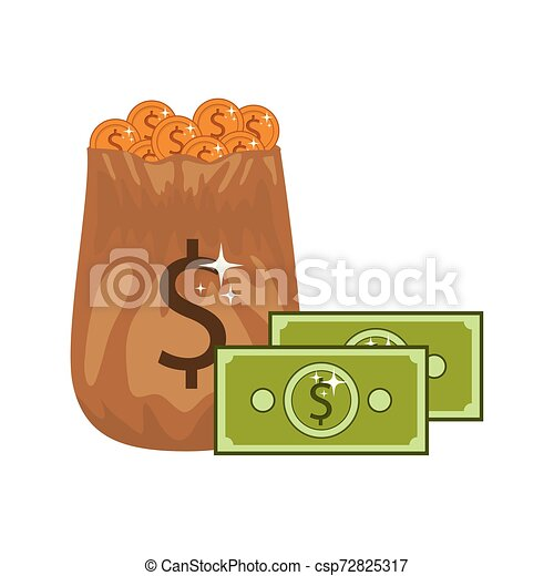 money saving and money bag on white background - csp72825317