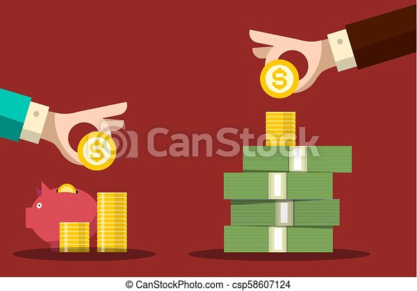 Money Savings Concept. Human Hands with Dollar Coins and Piggy Bank. Vector Flat Design Background. - csp58607124