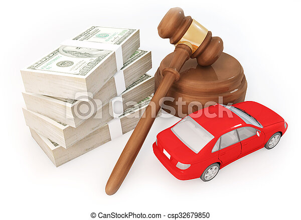 money stack and auction with car - csp32679850