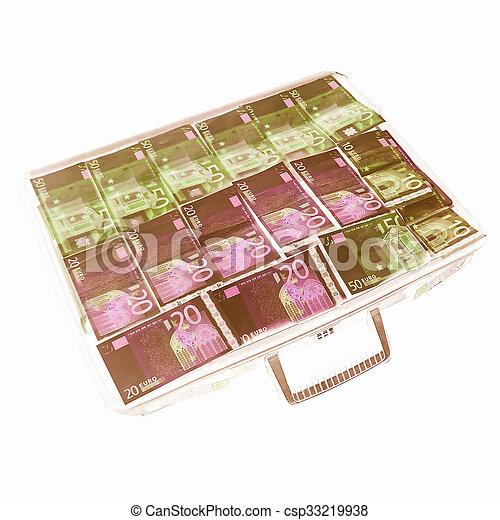 Money suitcase vintage - csp33219938