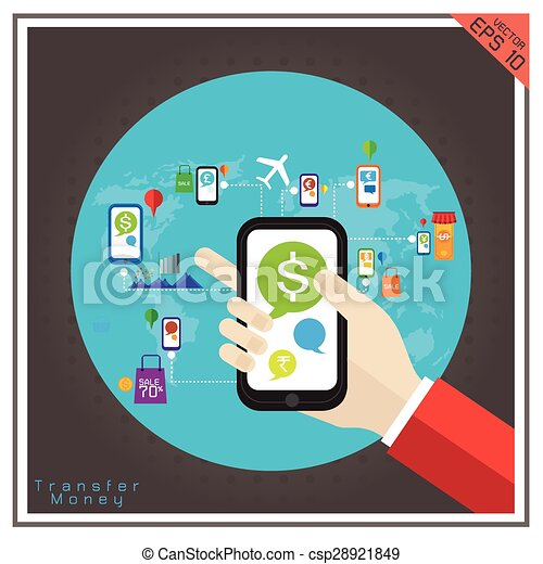 money  transfer mobile dollar euro Baht currency paying sale vector - csp28921849