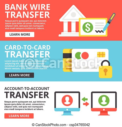 Money transfers types. Bank wire transfer, card to card transfer ...