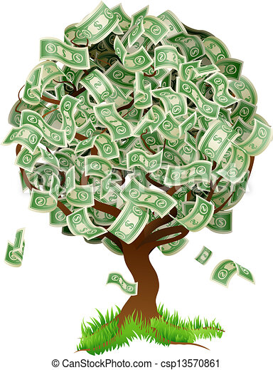 money tree a conceptual illustration of a tree growing money in the rh canstockphoto com Animated Money Tree money tree clipart