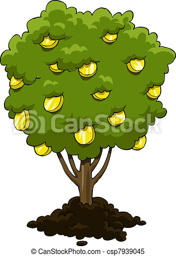 money tree on a white background vector rh canstockphoto com money growing on trees clip art money growing on trees clip art
