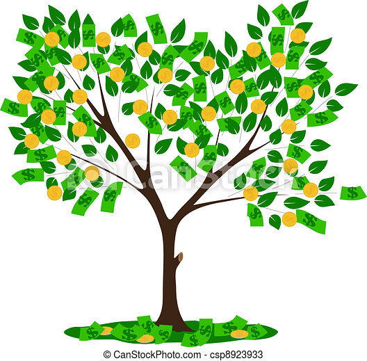 money tree with leaves and dollars vector illustration vectors rh canstockphoto com