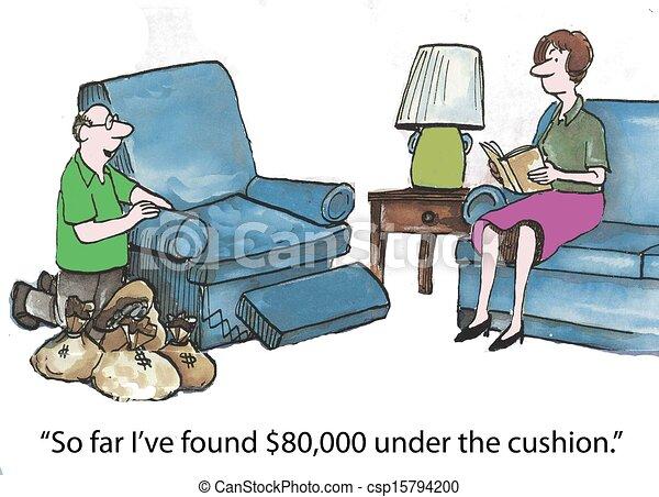 Money under cushions - csp15794200