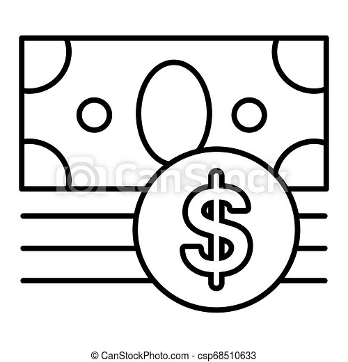 money vector icon isolated on white. Dollar cash symbol. Line flat outline icon. eps 10 - csp68510633