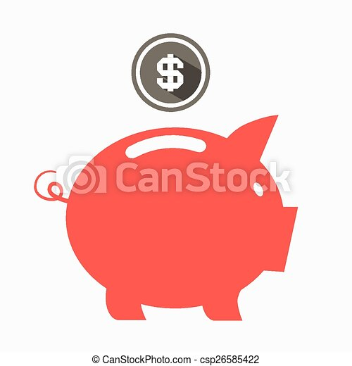 money vector red pig bank with dollar coin vector illustration rh canstockphoto com Piggy Bank Clip Art Piggy Bank Clip Art