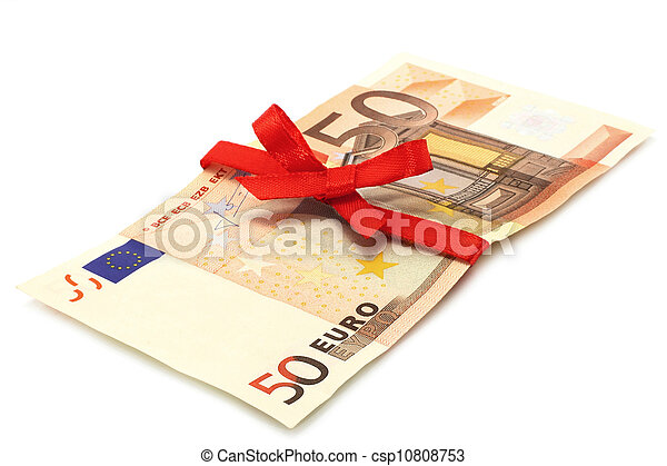 Money with red bow on a white background - csp10808753