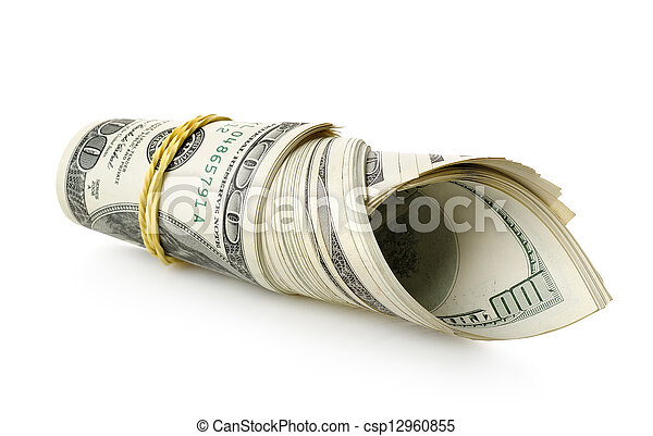 Money wrapped in a rubber band - csp12960855