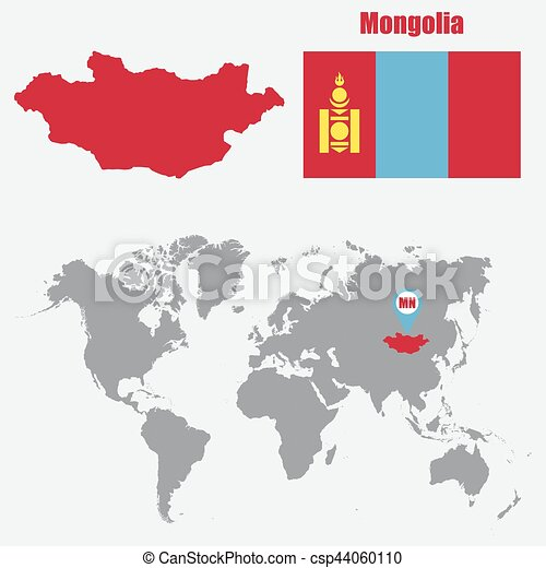 Mongolia map on a world map with flag and map pointer vector mongolia map on a world map with flag and map pointer vector illustration publicscrutiny Gallery