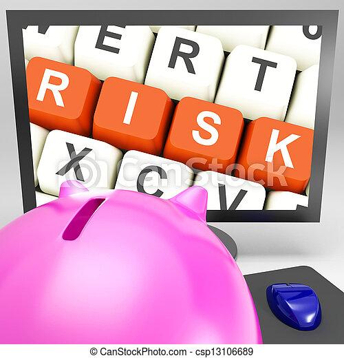 moniteur, clés, projection, risques, investissement, risque - csp13106689