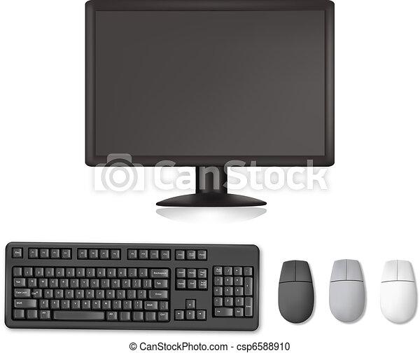moniteur, clavier, mouses. - csp6588910