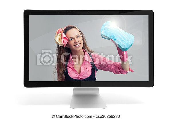 moniteur ordinateur, femme foyer - csp30259230