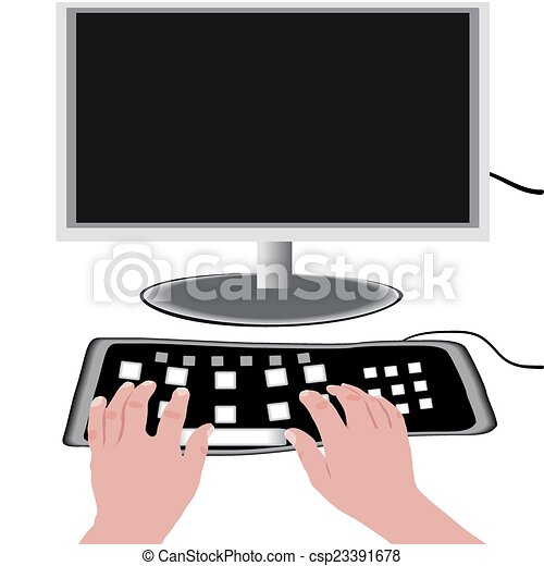 monitor and a keyboard - csp23391678