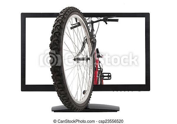 Monitor and mountain bike - csp23556520