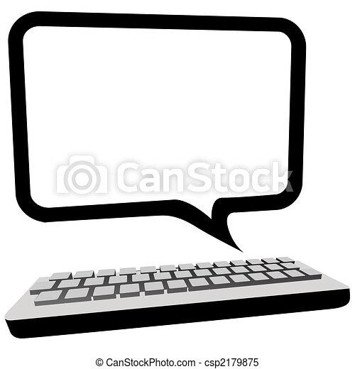 monitor, copyspace, comunicação, computador, borbulho fala - csp2179875