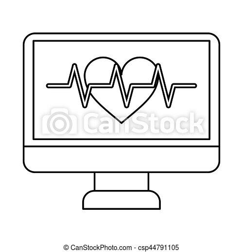 monitor heartbeat cardiology rhythm thin line - csp44791105
