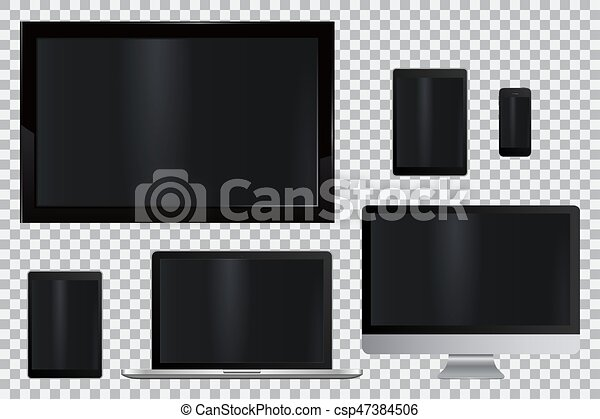 monitor, jogo, tabuleta, telefone, móvel, laptop, realístico, computador, tv, lcd, conduzido - csp47384506