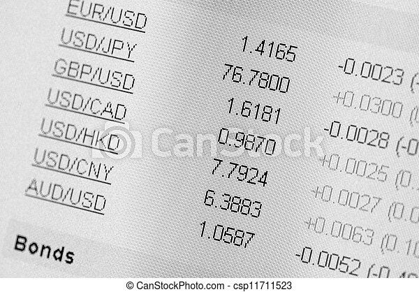Intercambio de moneda en un monitor informático. - csp11711523
