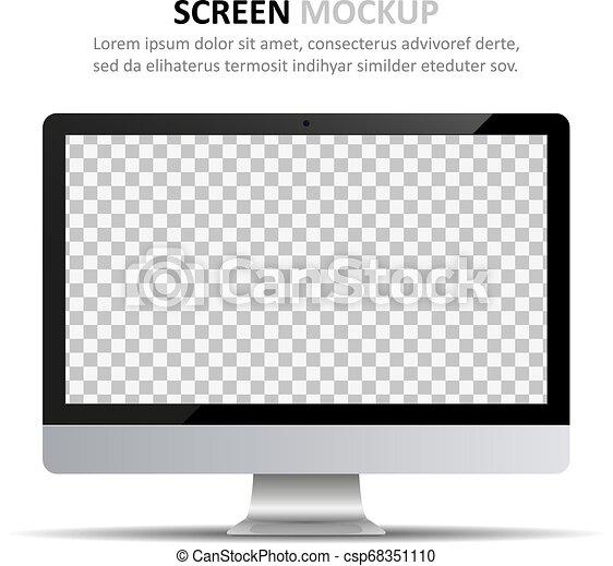 monitor, schermo, computer, disegno, vuoto, mockup. - csp68351110