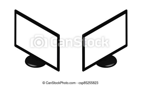 monitor, vuoto, vista., beffare, design., appartamento, su, bianco, computer, tv, stare in piedi, fondo, isometrico, isolato, schermo, vettore, sagoma - csp85255823
