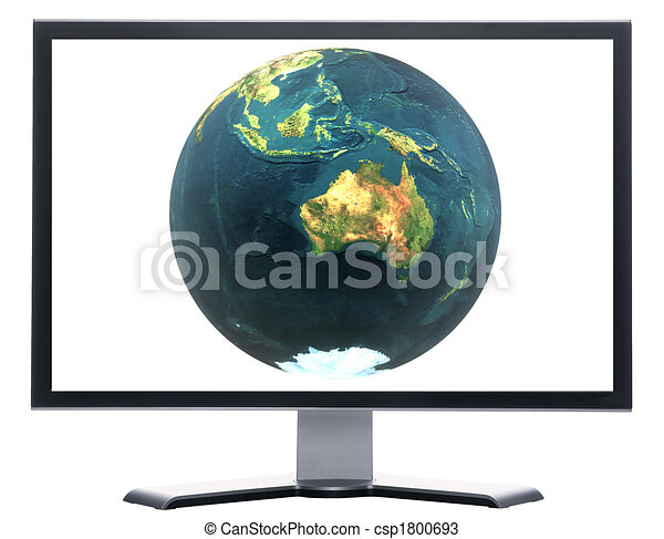 monitor with 3D globe - csp1800693